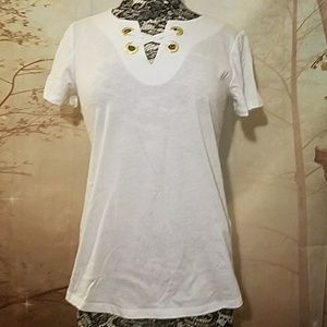 NWT Michael Michael Kors tee with gold grommets